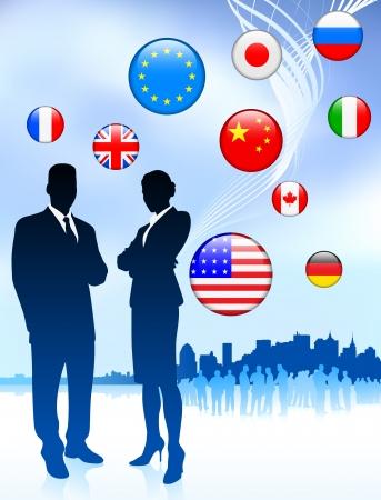 business meeting asian: Business Couple sur Internet drapeau boutons de fond Illustration
