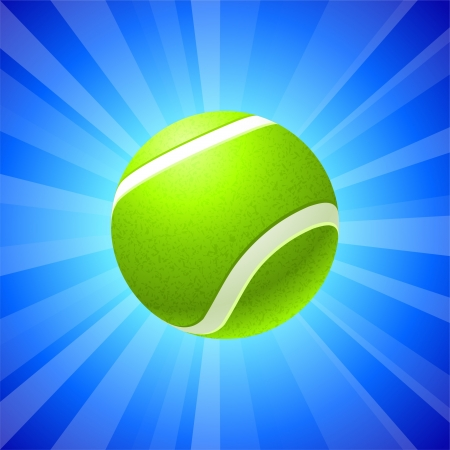 Tennis Ball on Blue Background