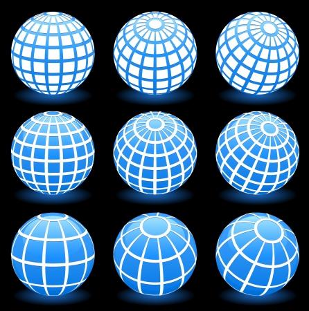 globe wire frame symbols Vector