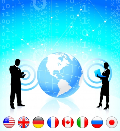 Business couple with globe and internet flag buttons Çizim