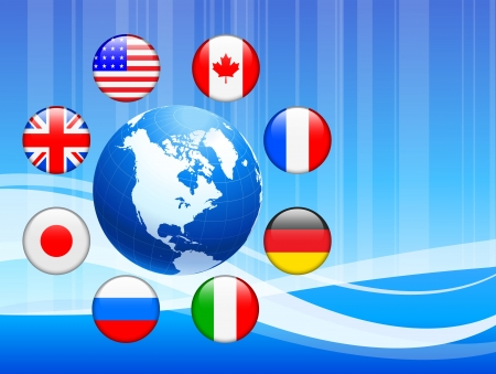 Globe with Internet Flag Buttons Background Vector