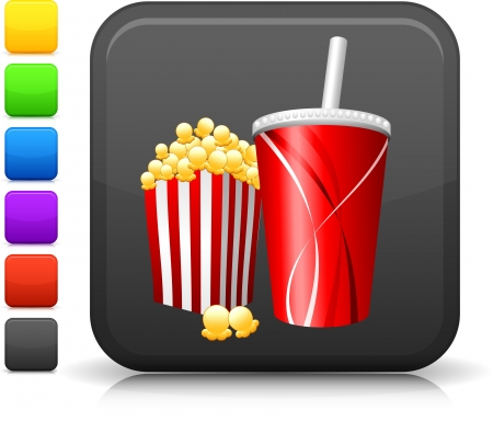 Popcorn and soft drink icon.