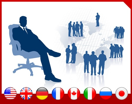 Executive Businessman with internet flag buttons Vector