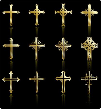 jesus on cross: religiosa collezione di design croce Vettoriali
