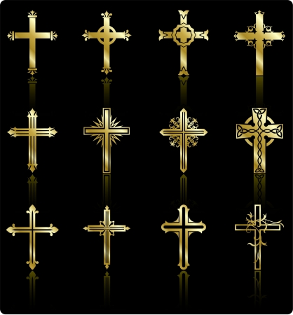 gold cross: religious cross design collection Illustration