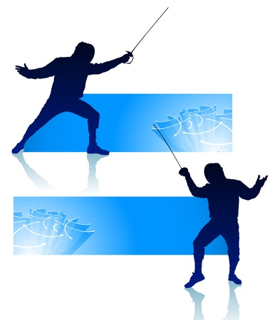 Fencer on Abstract Banners