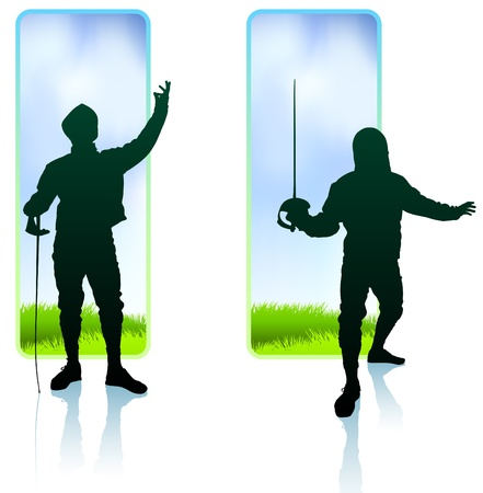 Fencer on Nature Banners