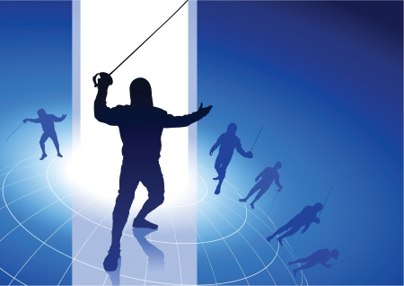 Fencing Sport on Wire Globe Background
