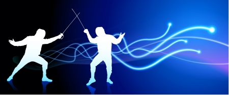 fender: Fencer on Light Spark Abstract Background