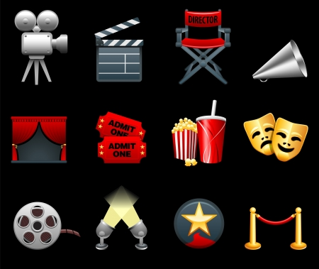 Film and movies industry icon collection 向量圖像