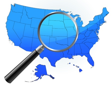 closer: United States Map Under Magnifying Glass Original Vector Illustration Magnifying Glass Closer