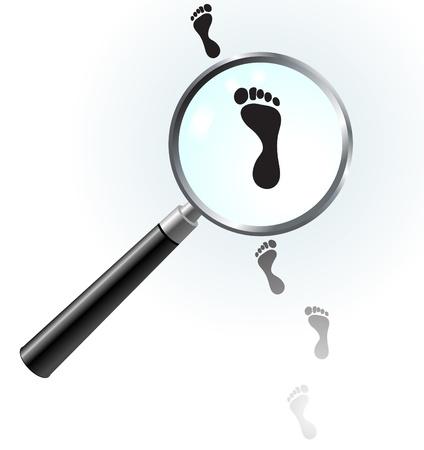 Human Footprints under magnifying glass Иллюстрация