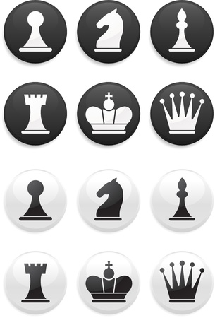 black and white Chess set on round buttons Vector