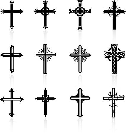 j�sus croix: collection religieuse de conception de croix Illustration