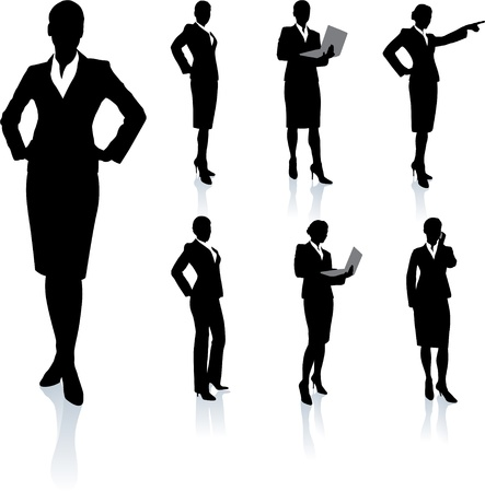 woman on phone: Businesswoman Silhouette Collection