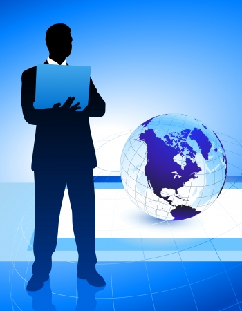 Businessman on Abstract Globe Background