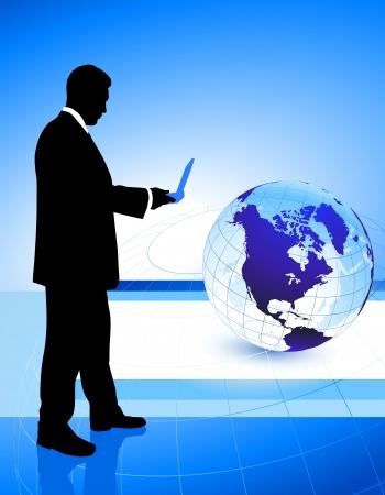 Businessman on Globe Background