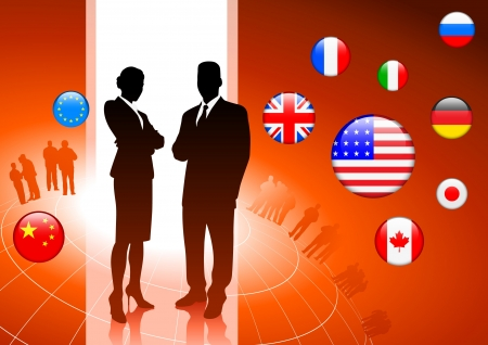 president of the usa: Business Couple on internet flag buttons background