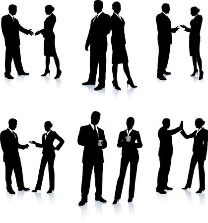 ビジネス チーム シルエット コレクション元のベクトル図人のシルエットのセット