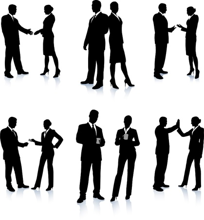 Business Team Silhouette Collection Original Vector Illustration People Silhouette Sets