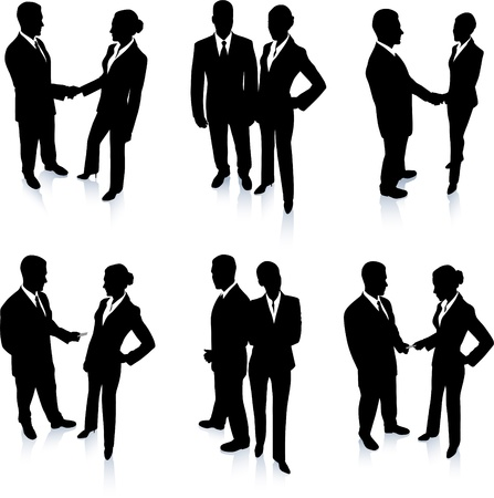 back lit: Business Team Silhouette Collection Original Vector Illustration People Silhouette Sets
