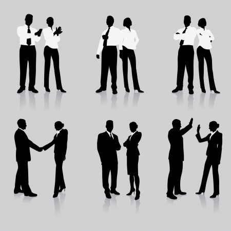 business team meeting: Business Team Silhouette Collection Original Vector Illustration People Silhouette Sets
