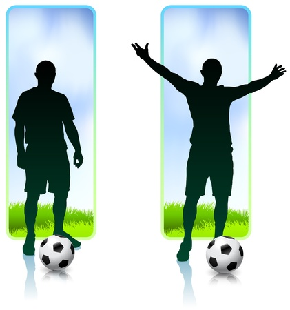 Soccer Player with Nature Banners Original Vector Illustration Çizim