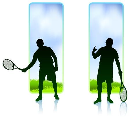 wimbledon: Tennis Player set with Nature Frame Background Original Vector Illustration
