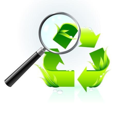 recycle symbol under magnifying glass Vector