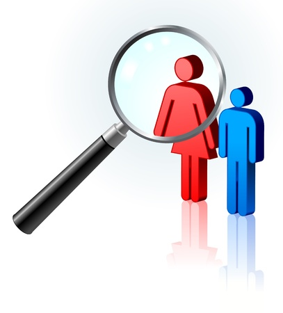 couple lit: Couple under magnifying glass
