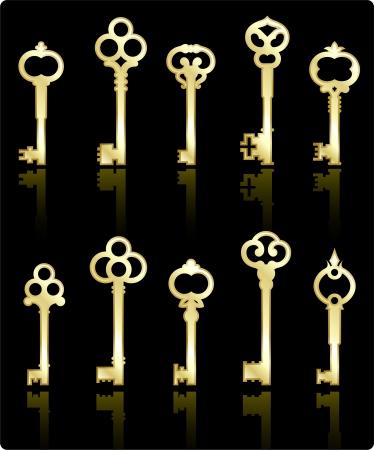 元のベクター イラスト: アンティーク keys コレクション  イラスト・ベクター素材