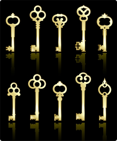 gold house: Original vector illustration: antique keys collection