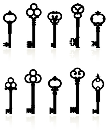 Original vector illustration: antique keys collection Vector