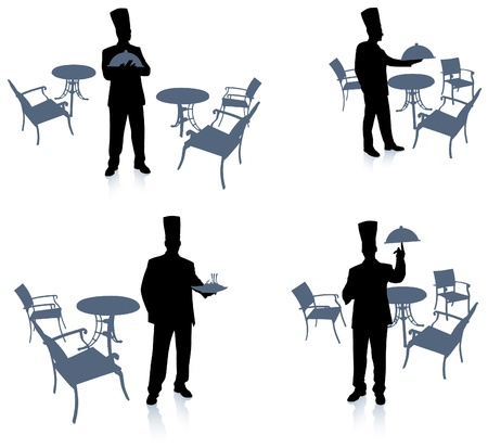 Chef silhouette at cafeOriginal Vector IllustrationChef on unique creative background Stock Vector - 20482396