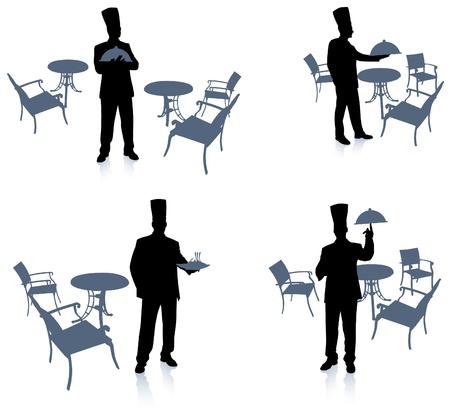 back lit: Silueta Chef en el caf� original de vector Chef sobre fondo creativo �nico
