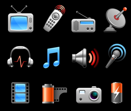 television aerial: Original vector illustration: Electronics and Media icon collection Illustration