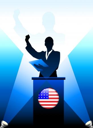 president of the usa: United States Leader Giving Speech on Stage Original Vector Illustration Illustration