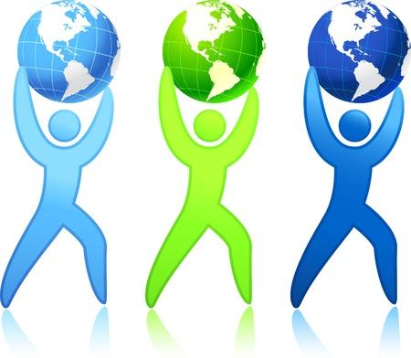 el mundo en tus manos: Original vector ilustraci�n: El mundo en sus manos
