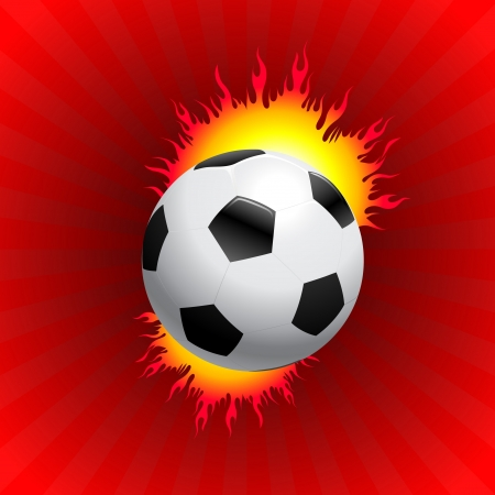 compatible: Blazing Soccer Ball on Red Background Original Vector Illustration AI8 Compatible