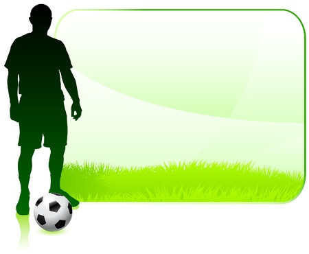 Soccer Player on Green Nature Frame Original Vector Illustration