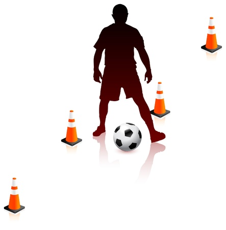Soccer Player with Traffic Cones Original Vector Illustration Çizim