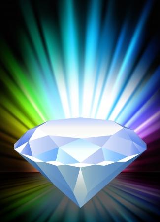 Diamond on Abstract Spectrum Background  Original Illustration