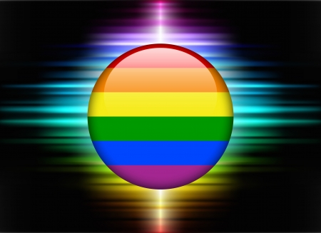Gay Flag Icon Button on Abstract Spectrum Background Original Illustration Vector