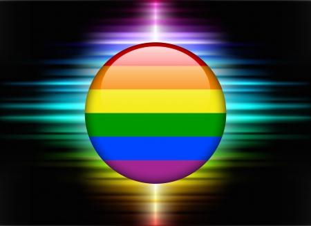 bandera gay: Icono Gay Flag Button en abstracto Spectrum de fondo Ilustraci�n original Vectores