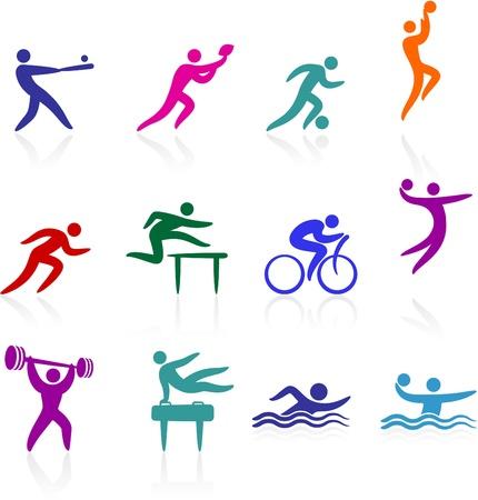 Illustrazione vettoriale originale: collezione di icone di sport Vettoriali