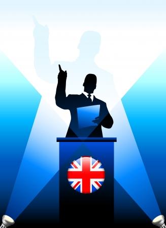 minister: United Kingdom Leader Giving Speech on Stage Original Vector Illustration Illustration