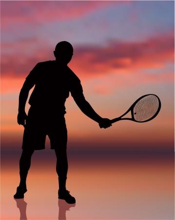 정오: 일몰 배경 원래 그림에 테니스 선수
