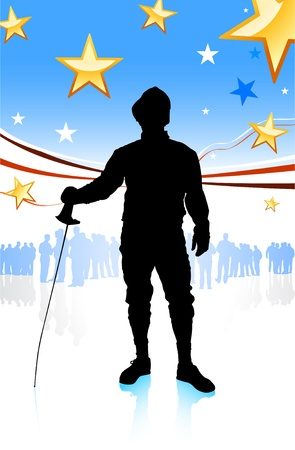 Fencing Sport on American Patriotic Background Original Illustration