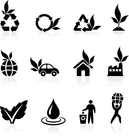 reforestaci�n: Original vector ilustraci�n: Colecci�n de iconos verdes medio ambiente