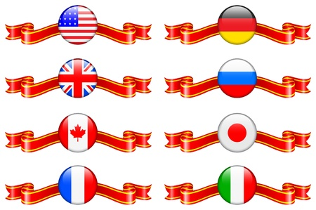 Internet Flag Buttons Collection Original Vector Illustration Vector